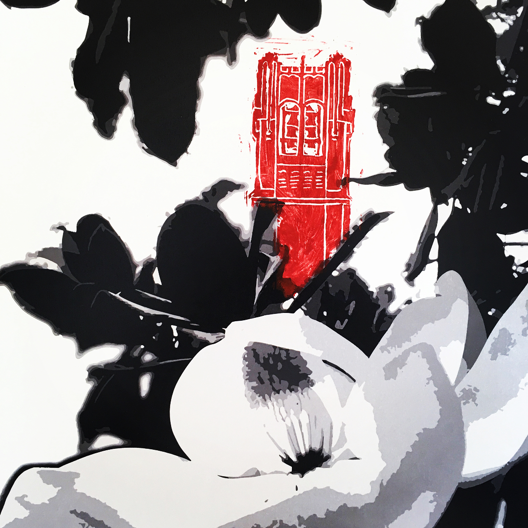 Mixed media black and white digital print of magnolia tree with red Century Tower