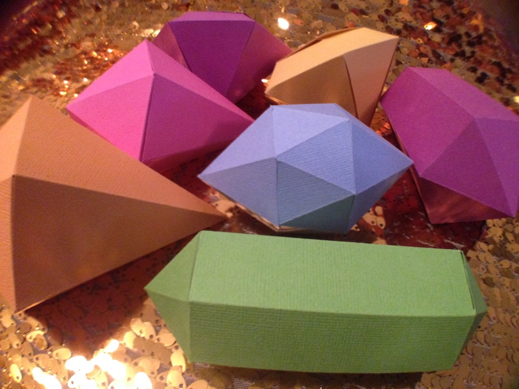 bright colored paper gems